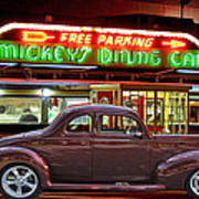 1940 Ford Deluxe Coupe At Mickeys Dinner  Art Print
