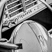 1940 Plymouth Deluxe Woody Wagon Steering Wheel Emblem -0116bw Art Print