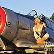 1940s Style Aviator Pin-up Girl Posing Art Print