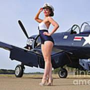1940s Style Navy Pin-up Girl Posing Art Print