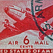 1941 - 1944 Six Cents Air Mail Stamp -  U. S. Army Cancelled Art Print