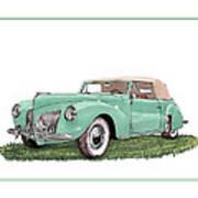 1941 Lincoln V-12 Continental Art Print