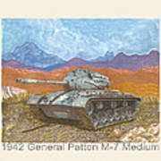1941 W W I I Patton Tank Art Print