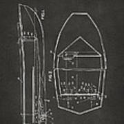 1943 Chris Craft Boat Patent Artwork - Gray Art Print