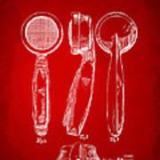 1944 Microphone Patent Red Art Print