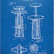 1944 Wine Corkscrew Patent Artwork - Blueprint Art Print