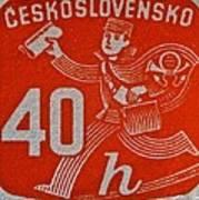 1945 Czechoslovakia Newspaper Stamp Art Print
