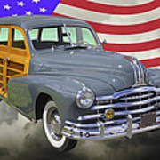 1948 Pontiac Silver Streak Woody And American Flag Art Print