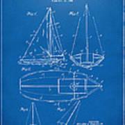 1948 Sailboat Patent Artwork - Blueprint Art Print