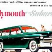 1950 - Plymouth Suburban Station Wagon Automobile Advertisement - Color Art Print