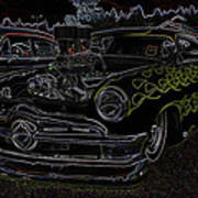 1950 Ford Coupe Neon Glow Art Print