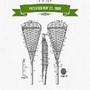 1950 Lacrosse Stick Patent Drawing - Retro Green Art Print