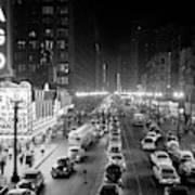 1950s 1953 Night Scene Of Chicago State Art Print