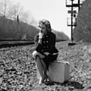 1950s 1960s Woman Sad Worried Facial Art Print