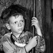 1950s Boy Wearing Raccoon Skin Hat Art Print