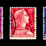 1950s French Postage Triptych Art Print