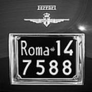 1951 Ferrari 212 Export Berlinetta Rear Emblem - License Plate -0775bw Art Print