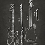 1953 Fender Bass Guitar Patent Artwork - Gray Art Print