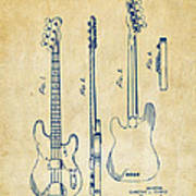1953 Fender Bass Guitar Patent Artwork - Vintage Art Print