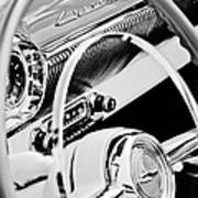 1954 Chevrolet Belair Steering Wheel Emblem -1535bw Art Print
