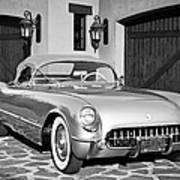1954 Chevrolet Corvette -183bw Art Print