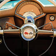 1954 Chevrolet Corvette Convertible  Steering Wheel Art Print by Jill Reger