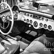 1954 Chevrolet Corvette Interior Black And White Picture Art Print