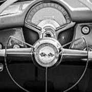 1954 Chevrolet Corvette Steering Wheel -382bw Art Print