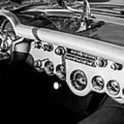 1954 Chevrolet Corvette Steering Wheel -502bw Art Print