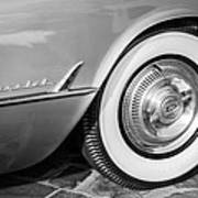 1954 Chevrolet Corvette Wheel Emblem -159bw Art Print