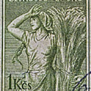1954 Czechoslovakian Farm Woman Stamp Art Print
