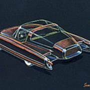 1954  Ford Cougar Experimental Car Concept Design Concept Sketch Art Print