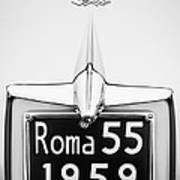 1955 Alfa Romeo 1900 Css Ghia Aigle Cabriolet Grille Emblem - Super Sprint Emblem -0601bw Art Print