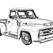 1955 F100 Ford Pickup Truck Illustration Art Print