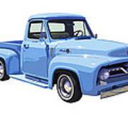 1955 Ford F100 Blue Pickup Truck Canvas Art Print