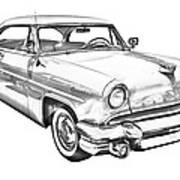 1955 Lincoln Capri Luxury Car Illustration Art Print