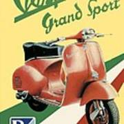 1955 - Vespa Grand Sport Motor Scooter Advertisement - Color Art Print