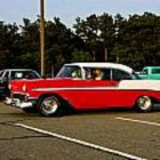 1956 Chevy Bel Air Red And White Art Print