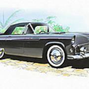 1956 Ford Thunderbird  Black  Classic Vintage Sports Car Art Sketch Rendering         Art Print