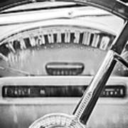 1956 Ford Thunderbird Steering Wheel -260bw Art Print
