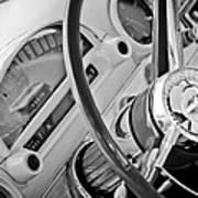 1956 Ford Thunderbird Steering Wheel -322bw Art Print