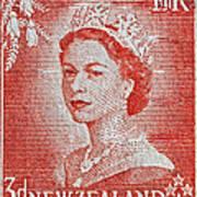 1956 Queen Elizabeth New Zealand Stamp Art Print