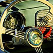 1956 Volkswagen Vw Bug Steering Wheel 2 Print by Jill Reger