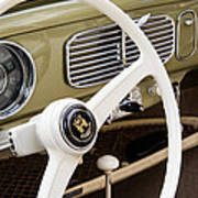1956 Vw Convertible Steering Wheel Art Print