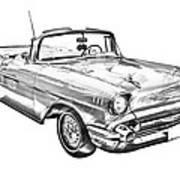 1957 Chevrolet Bel Air Convertible Illustration Art Print