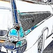 1957 Chevrolet Bel Air Art White Art Print