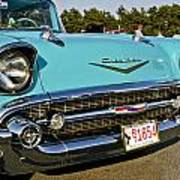 1957 Chevy Bel Air Blue Front Grill Art Print