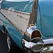 1957 Chevy Bel Air Blue Rear Quarter From Back Art Print