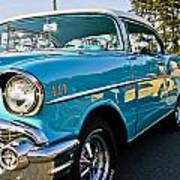 1957 Chevy Bel Air Blue Right Side Art Print