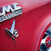 1957 Gmc V8 Pickup Truck Gmc Hydra-matic Emblem Art Print